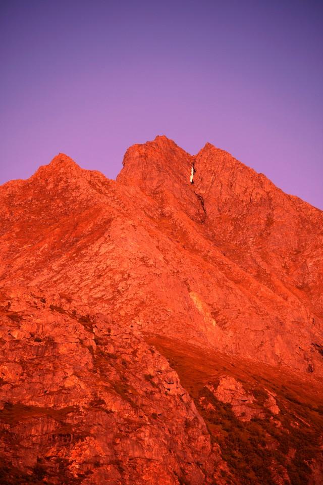 Purple red mountain